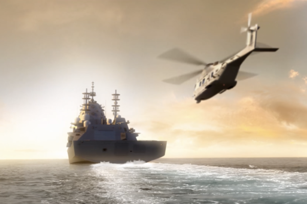 helicopter and warship distanced