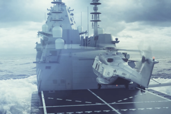 warship and helicopter landing