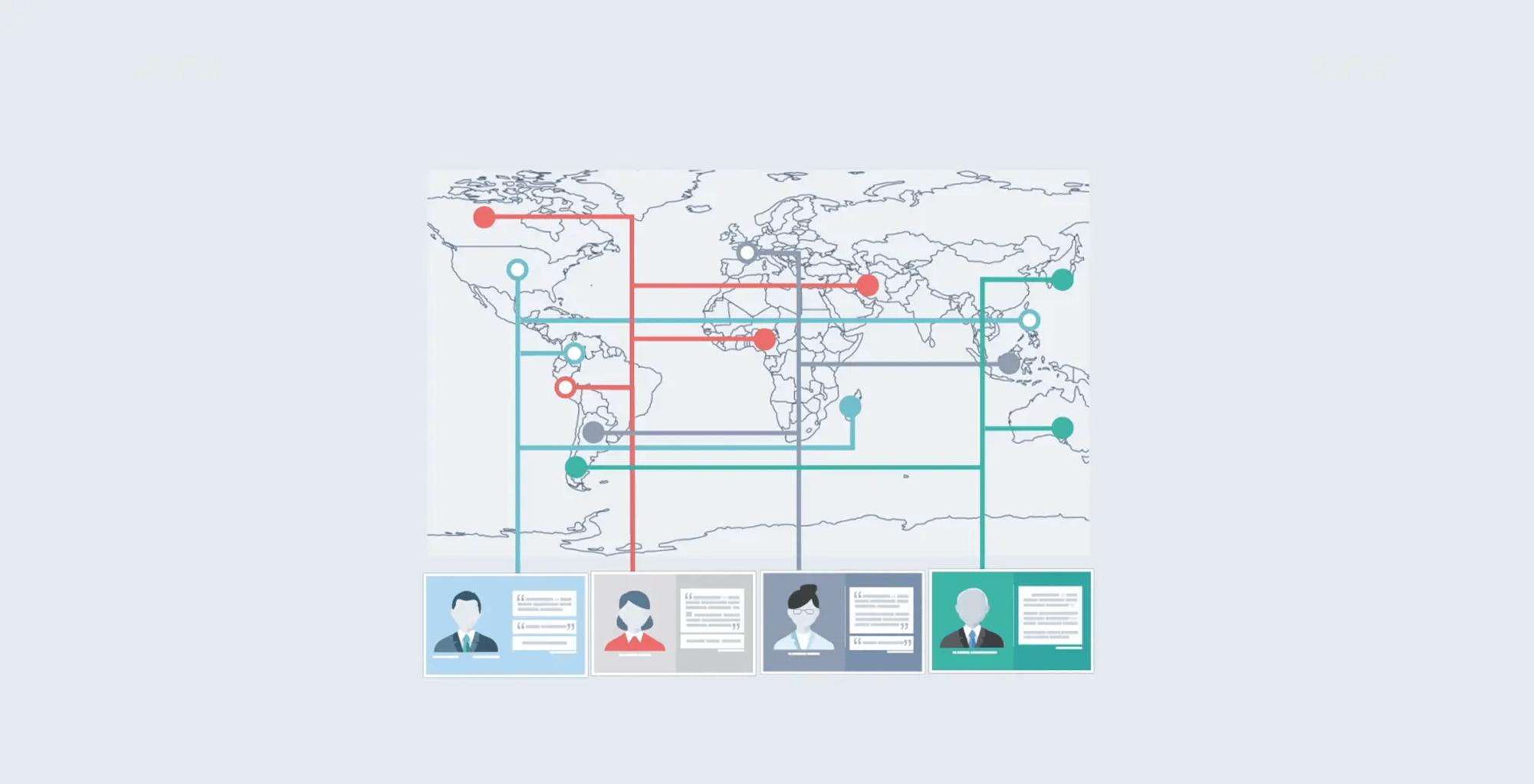 world map and avatars